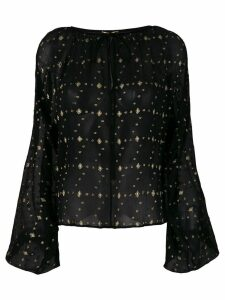Saint Laurent embroidered sheer blouse - Black