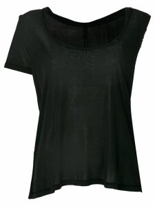 Unravel Project asymmetric sleeve twisted scoop neck tank - Black