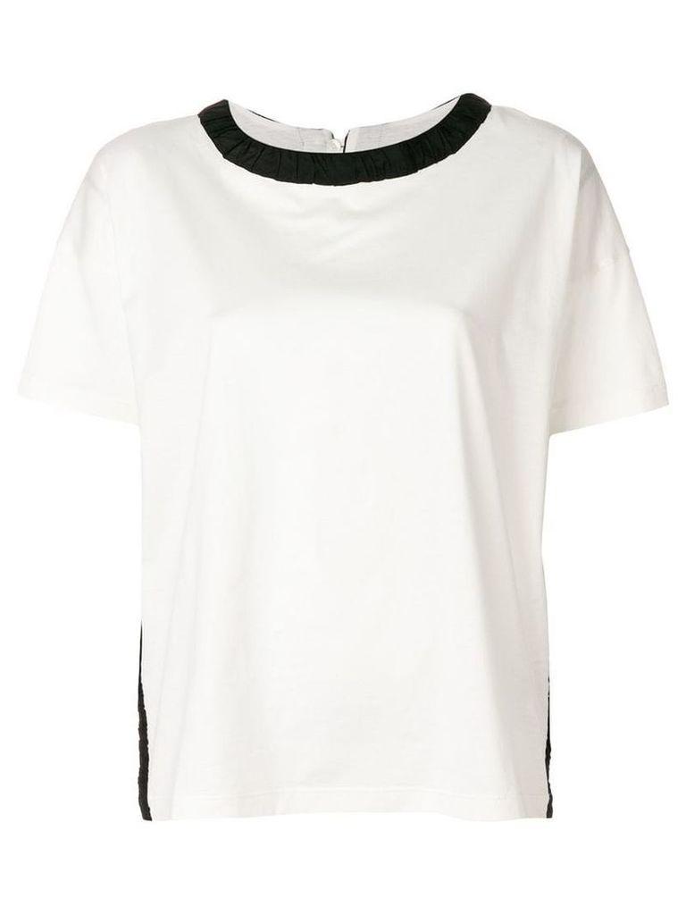 Moncler contrast-collar T-shirt - White