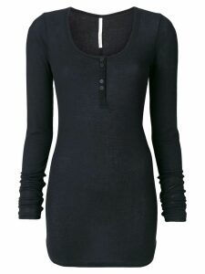 Isabel Benenato buttoned neck long top - Black