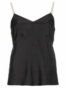Helmut Lang Silk Contrast Strap Top - Black