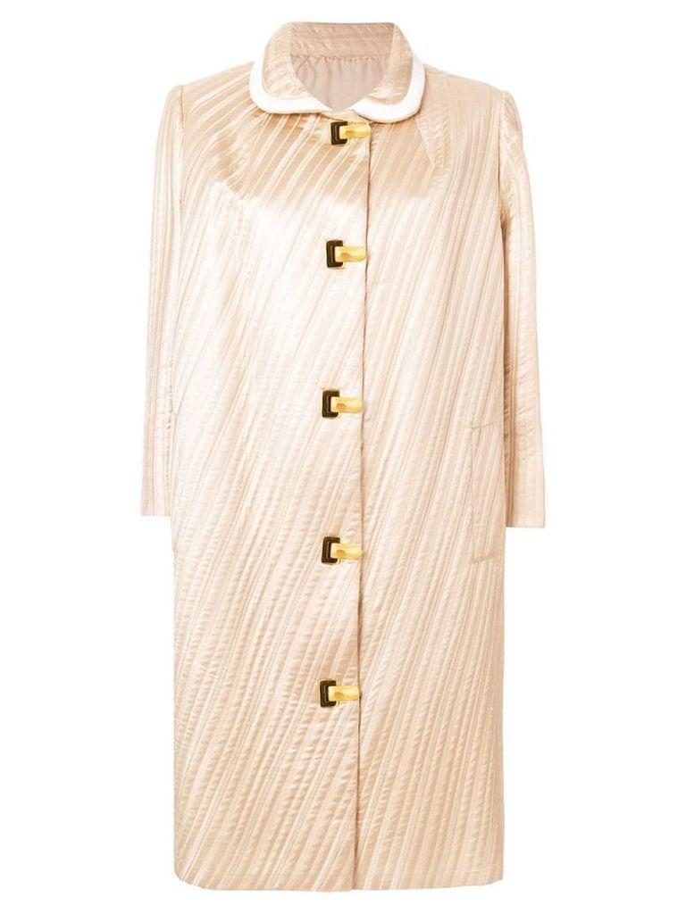 Pierre Cardin Vintage 1962 pleated midi coat - Neutrals
