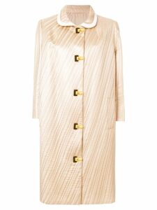 Pierre Cardin Pre-Owned 1962 pleated midi coat - Neutrals