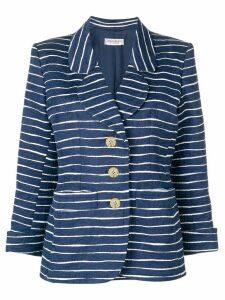 Yves Saint Laurent Pre-Owned floral jacquard striped blazer - Blue