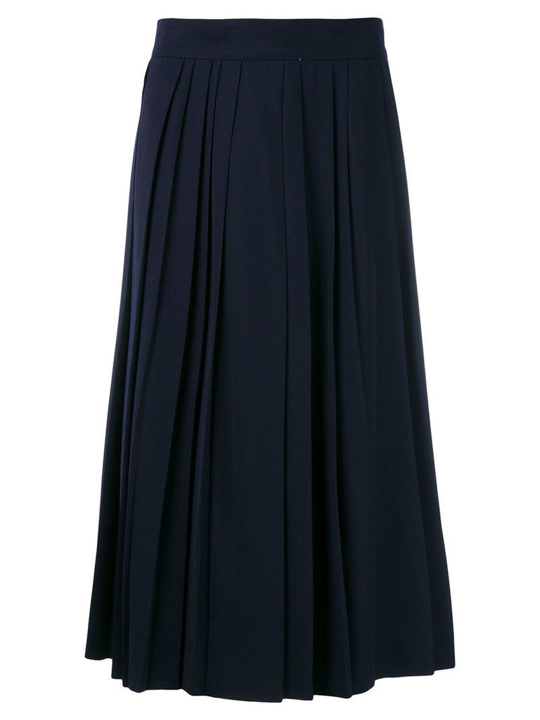 Moschino Vintage pleated details midi skirt - Blue