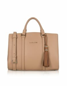 Lancaster Paris Designer Handbags, Mademoiselle Ana Nude/Hazelnut Leather Large Satchel Bag