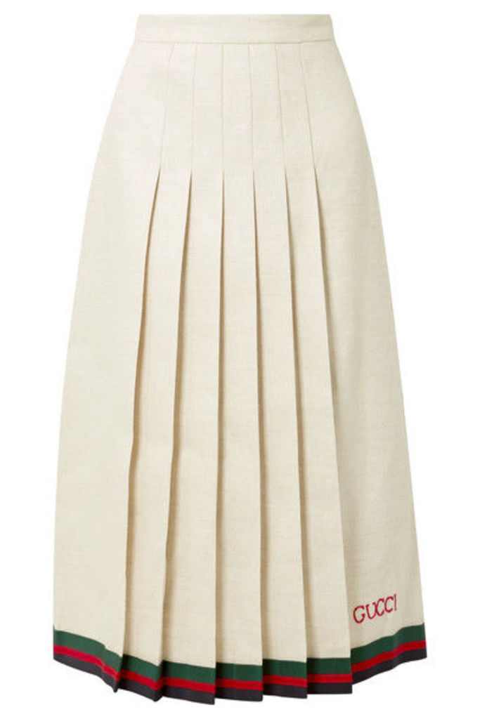 Gucci - Pleated Embroidered Linen And Silk-blend Midi Skirt - Ivory