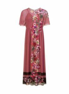 **Little Mistress Pink Floral Striped Maxi Dress, Bright Multi