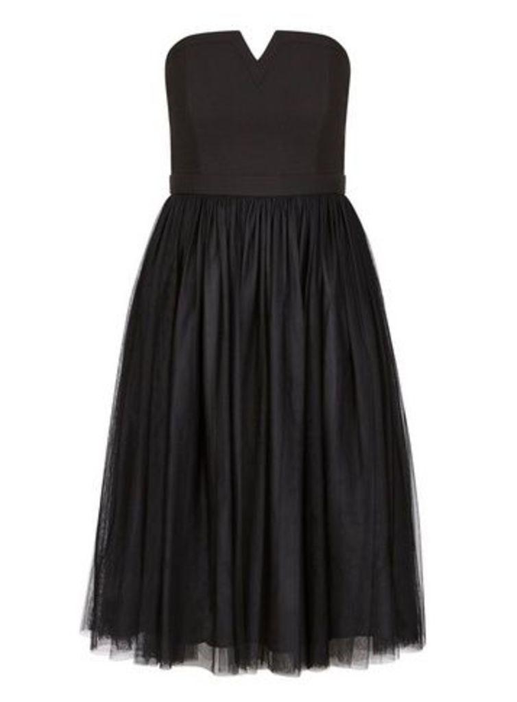 **City Chic Black Power Princess Skater Dress, Black
