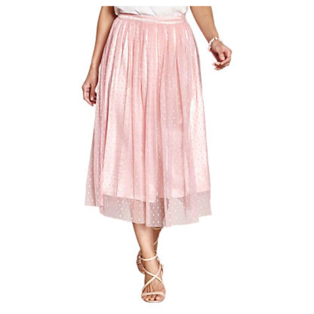 Yumi Mesh Spot Party Skirt, Light Pink