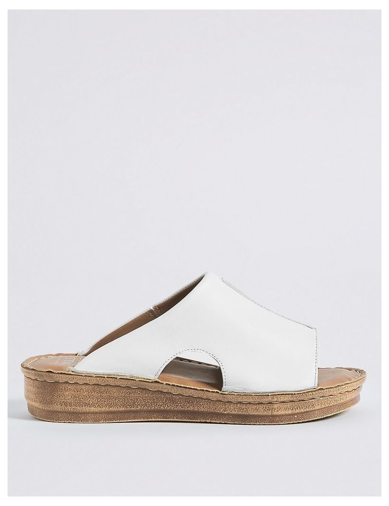 M&S Collection Leather Flatform Seamed Mule