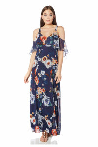 Floral Cold Shoulder Chiffon Maxi Dress