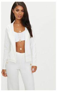 Cream Crop Blazer, White