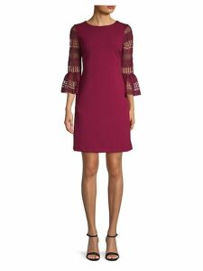 Scuba Lace Flute Sleeve Dress