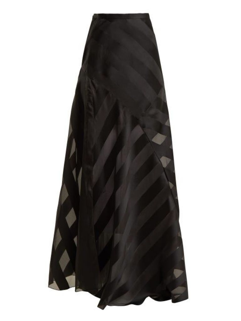 Lanvin - High Rise Chevron Striped Silk Blend Skirt - Womens - Black