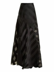 Lanvin - High Rise Chevron Striped Silk Blend Skirt - Womens - Black