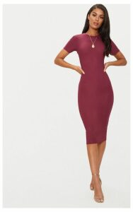 Burgundy Cap Sleeve Midi Dress, Red