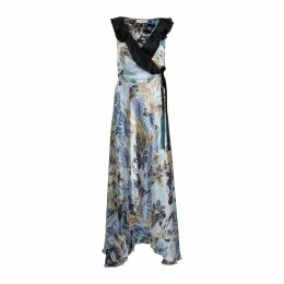 Roses Are Red - Doris Silk Dress in Floral Blue