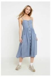 61a2030a30 ... UO Emilia Blue Striped Button-Through Midi Dress, blue by Urban  Outfitters