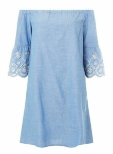 Womens **Tall Blue Flute Sleeve Bardot Dress- Blue, Blue