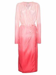 Attico Silk Ombre Wrap Dress - Pink