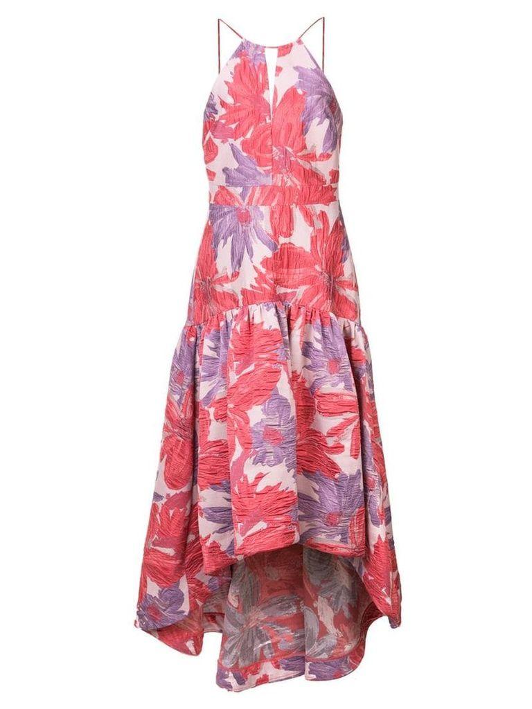 Badgley Mischka long floral flared dress - Pink
