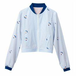 100% Cotton Striped and Embroidered Cropped Bomber Jacket