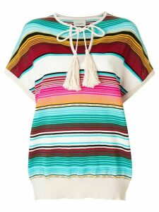 Laneus shortsleeved striped knitted top - Multicolour