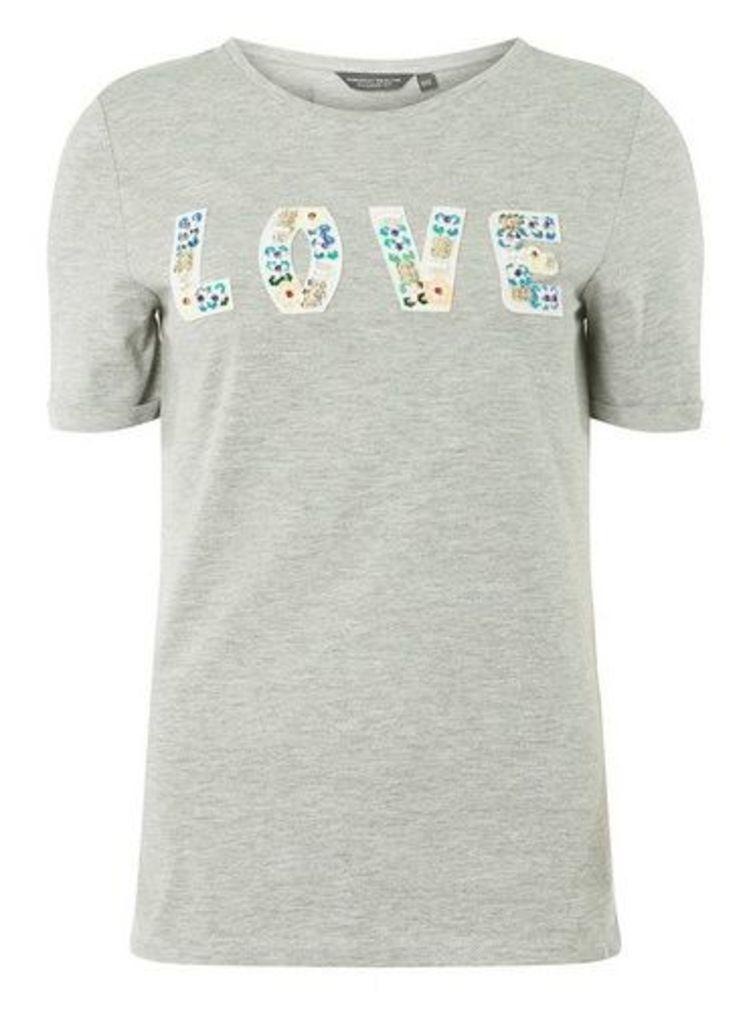 Womens **Tall Grey Embellished Letter T-Shirt- Grey, Grey