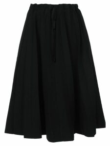 Label Under Construction paper bag waisted mid-length skirt - Black