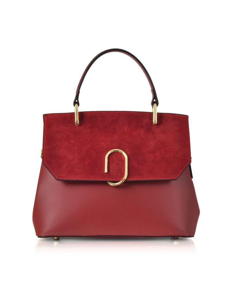 Le Parmentier Designer Handbags, Thais Suede and Leather Satchel Bag