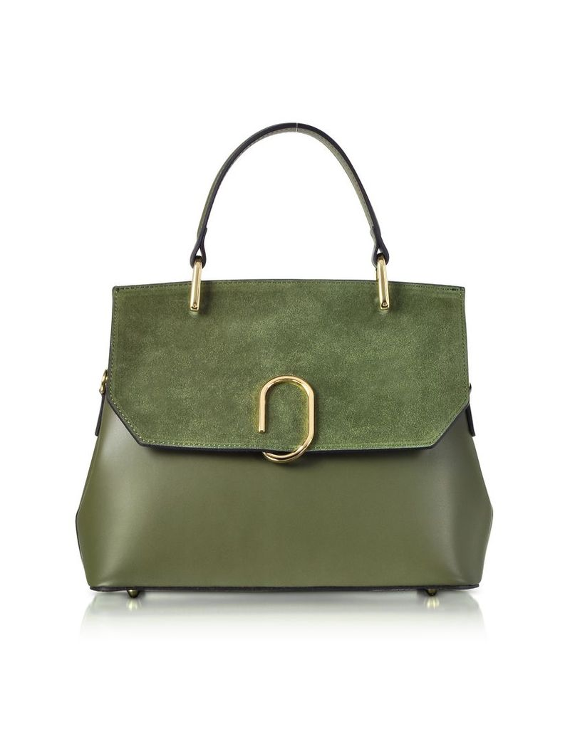 Le Parmentier Designer Handbags, Thais Suede and Leather Satchel Bag