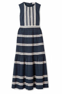REDValentino - Rickrack-trimmed Cotton-poplin Midi Dress - Navy