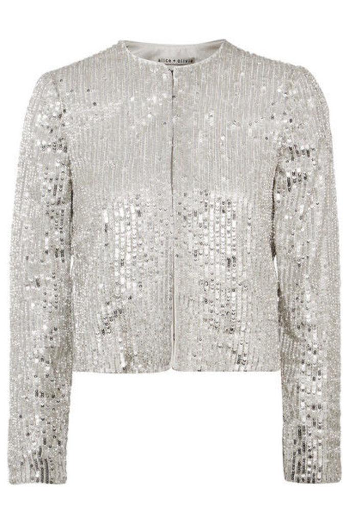 Alice + Olivia - Kidman Sequined Crepe Jacket - Silver