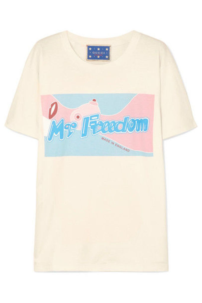 Gucci - Printed Cotton-jersey T-shirt - Cream