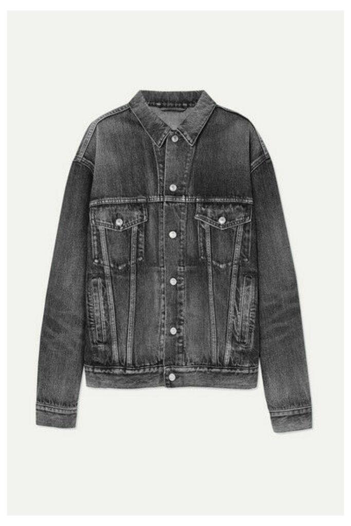 Balenciaga - Like A Man Oversized Embossed Denim Jacket - Gray