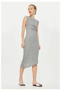 Womens Drape Side Maxi Dress - Grey, Grey
