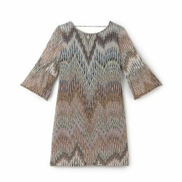 Printed Dress with Low Cut Back and 3/4-Length Sleeves