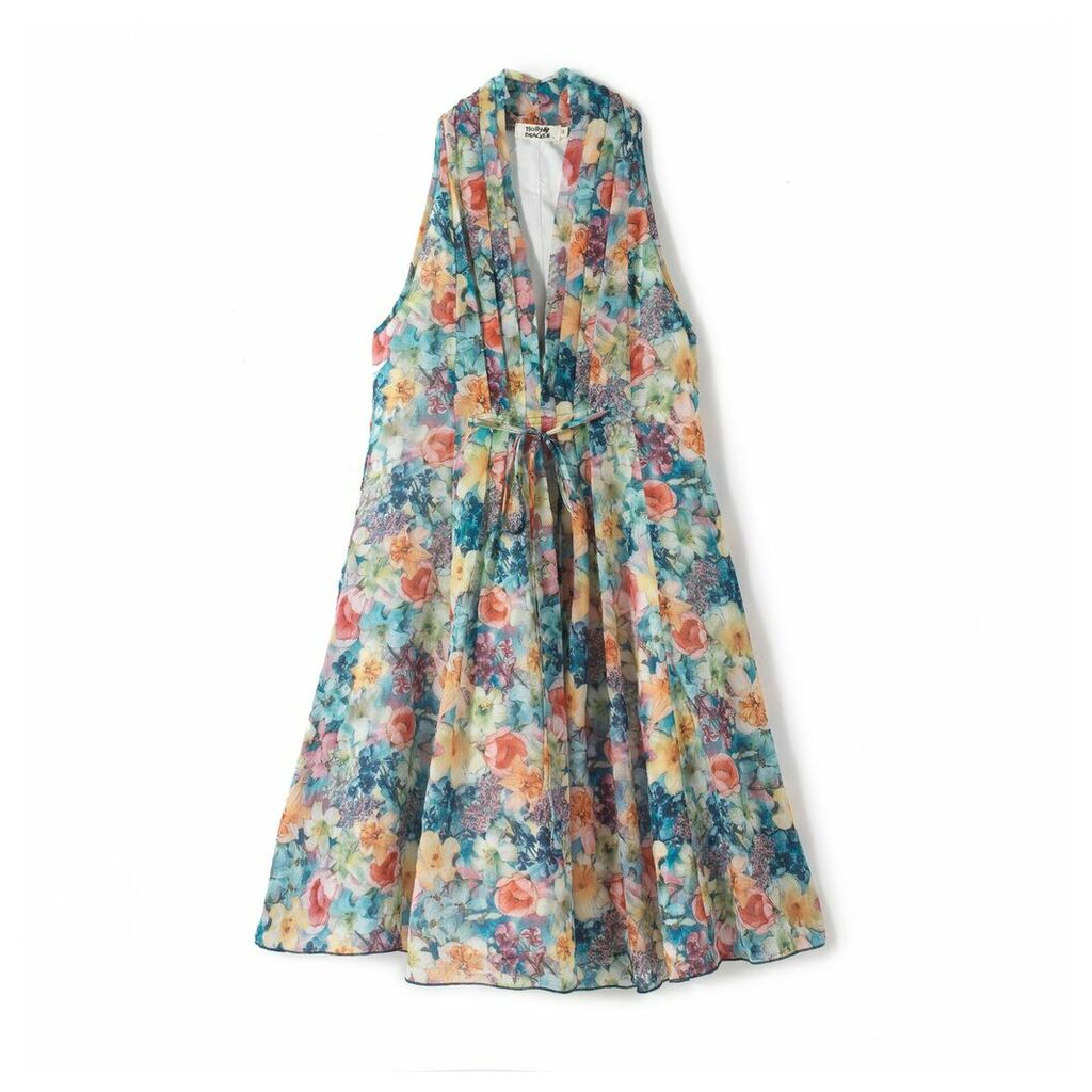 Flared Sleeveless Exotic Print Dress