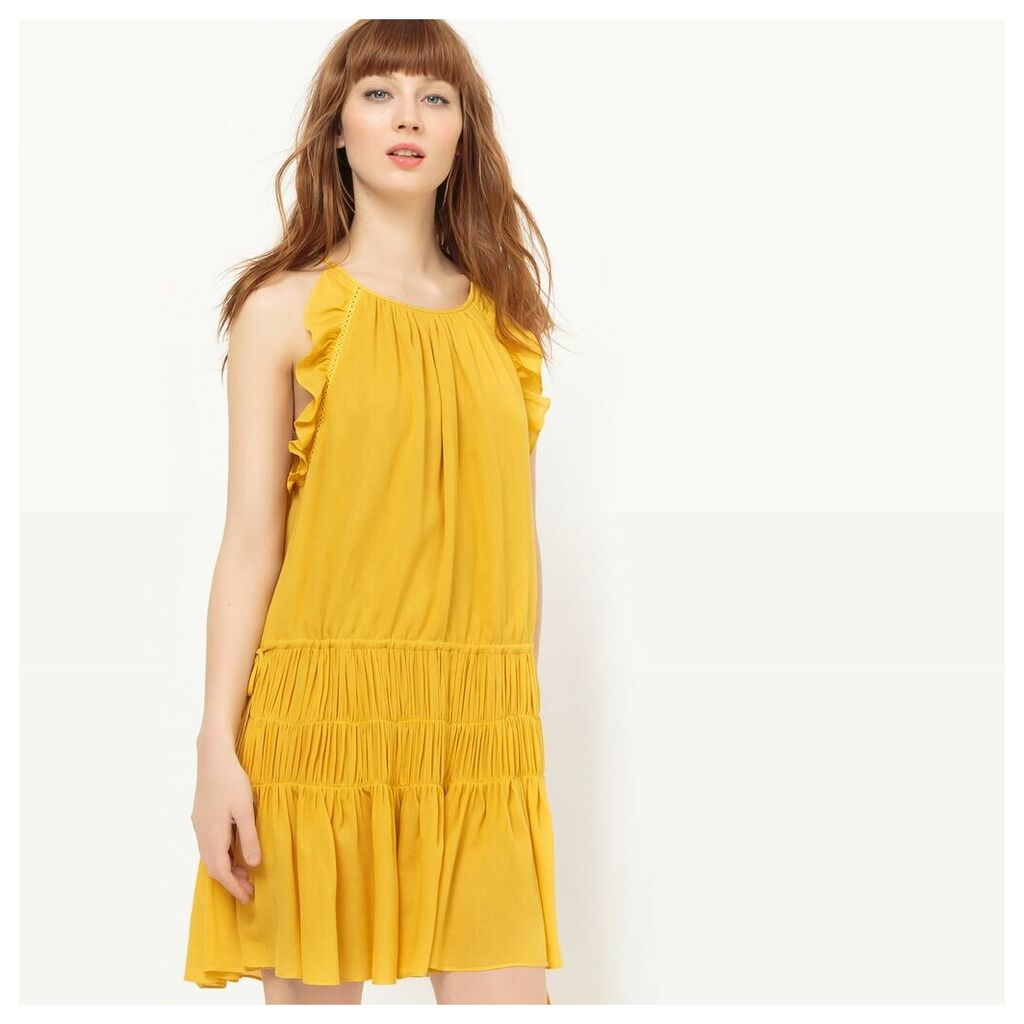 Frilled Dress with Shoestring Straps