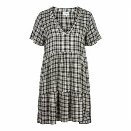 Short-Sleeved Checked Midi Flared  Dress