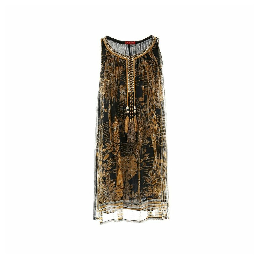 Embroidered Sleeveless Dress with Tassles