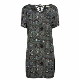 Komelia Printed Dress with Lace-Up Back