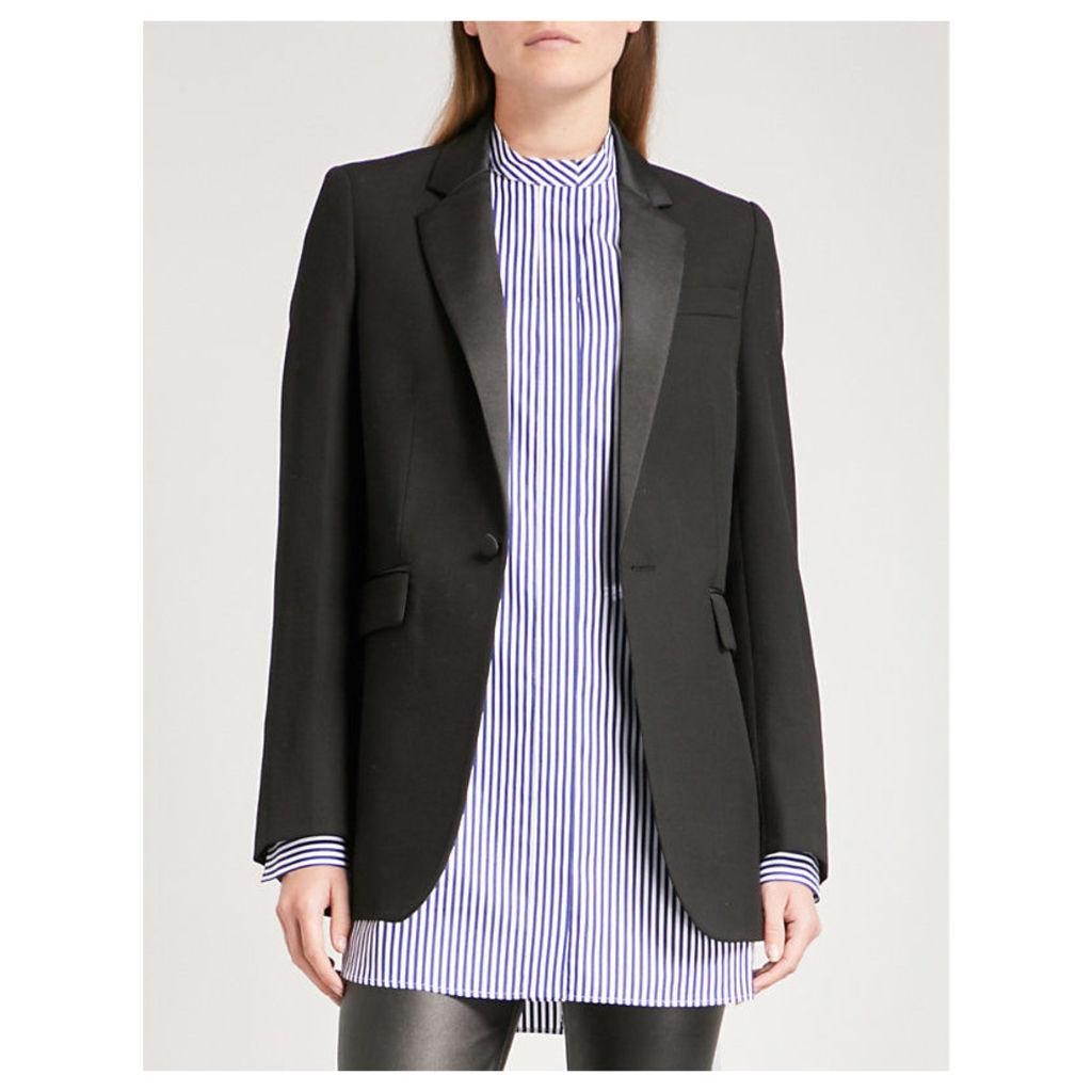 Jan satin-lapel woven jacket