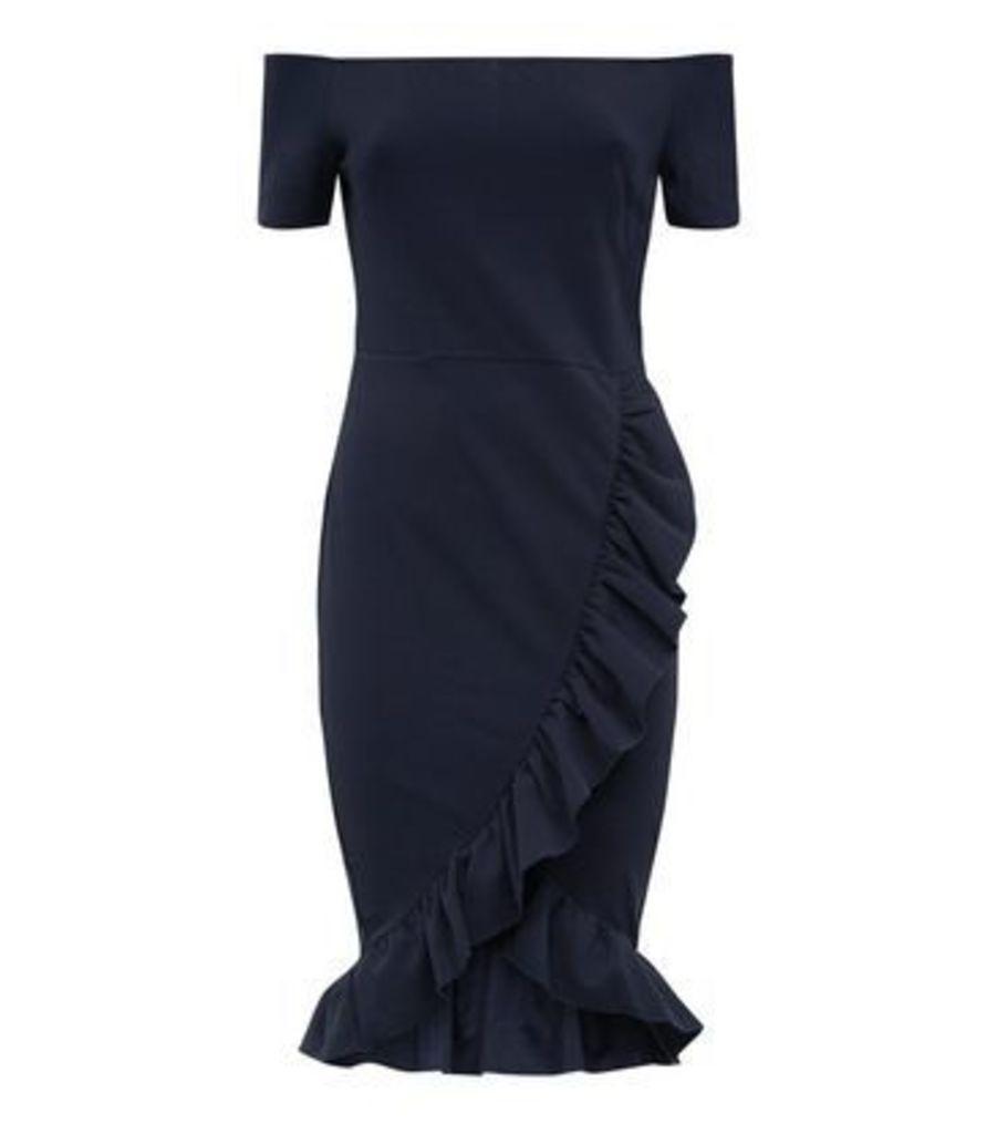 AX Paris Navy Frill Trim Bardot Neck Dress New Look