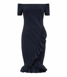 AX Paris Navy Frill Trim Bardot Neck Dress New Look
