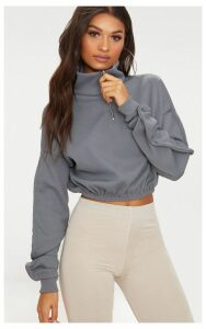 Grey Rib Zip Front Long Sleeve Sweater, Grey