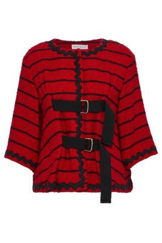 Sonia Rykiel Woman Buckled Striped Cotton-blend Bouclé-tweed Jacket Crimson Size 38