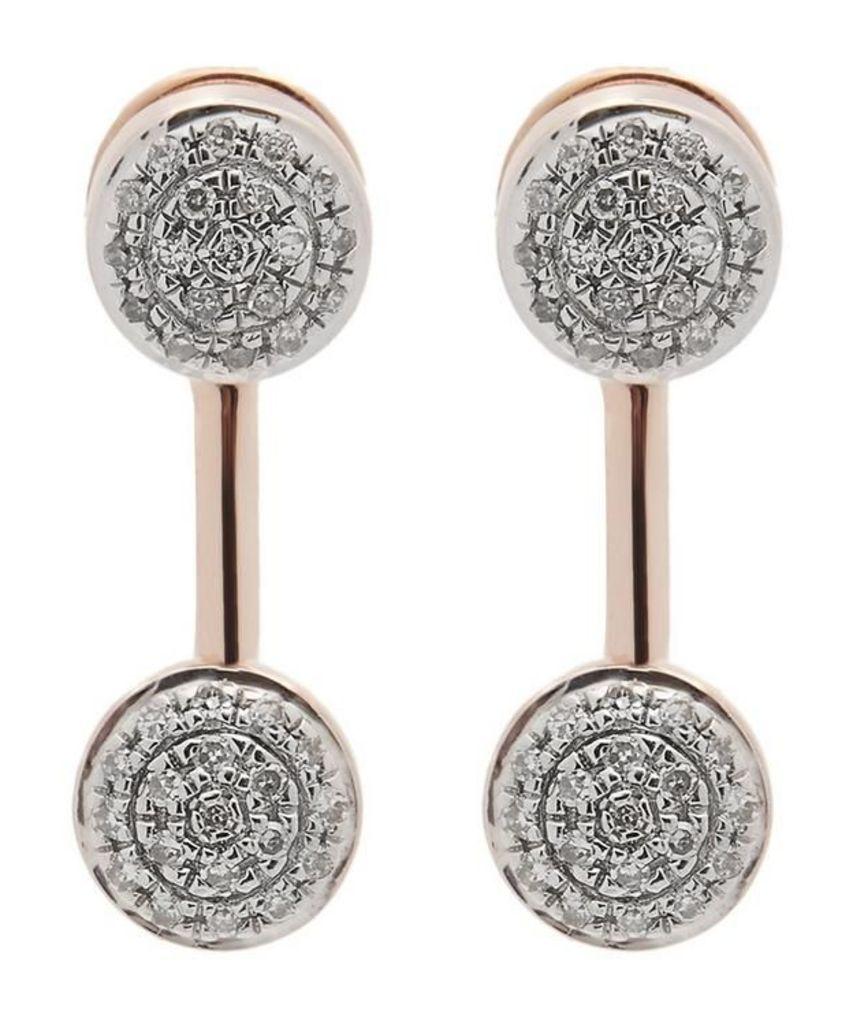 Rose Gold-Plated Fiji Mini Button Diamond Jacket Earrings