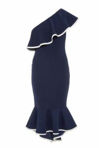 Quiz Navy One Shoulder Dip Hem Dress